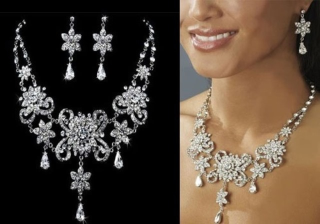 Wedding-Jewelry-Floral-Crystal-Necklace-Earring-Set-528